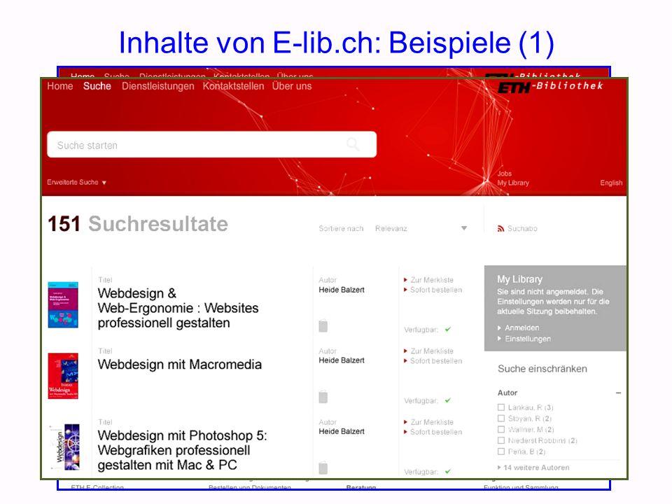 Inhalte von E-lib.ch: Beispiele (1)