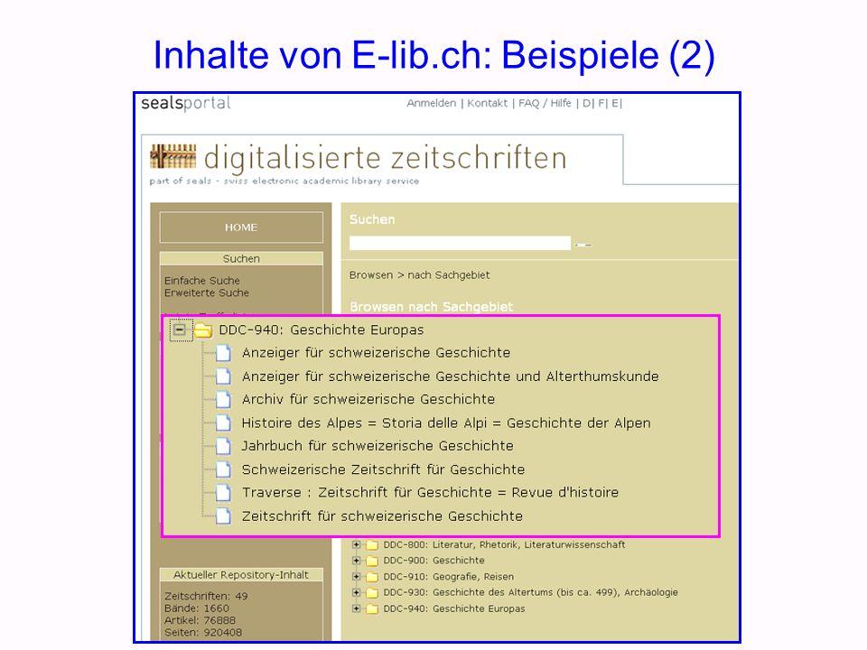 Inhalte von E-lib.ch: Beispiele (2)