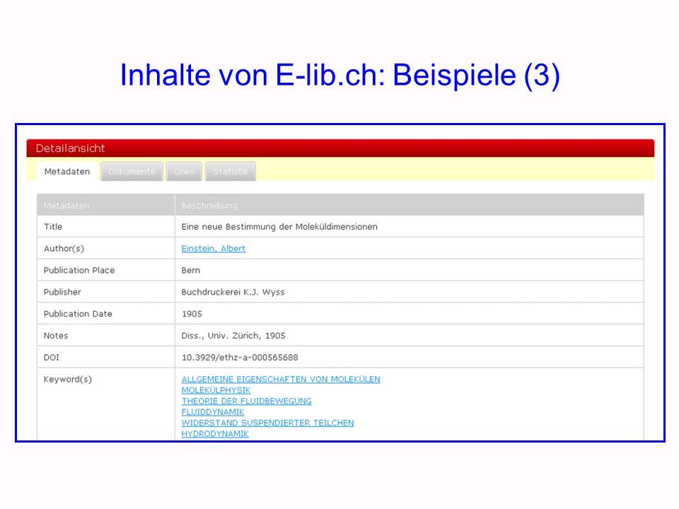 Die Elektronische Bibliothek Schweiz …..