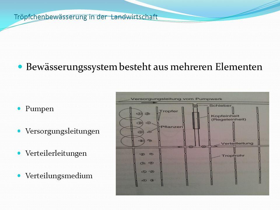 Tröpfchenbewässerung in der Landwirtschaft Bewässerungssystem besteht aus mehreren Elementen Pumpen Versorgungsleitungen Verteilerleitungen Verteilung