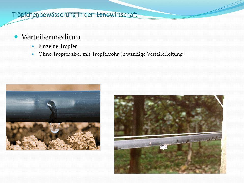 Tröpfchenbewässerung in der Landwirtschaft Verteilermedium Einzelne Tropfer Ohne Tropfer aber mit Tropferrohr (2 wandige Verteilerleitung)