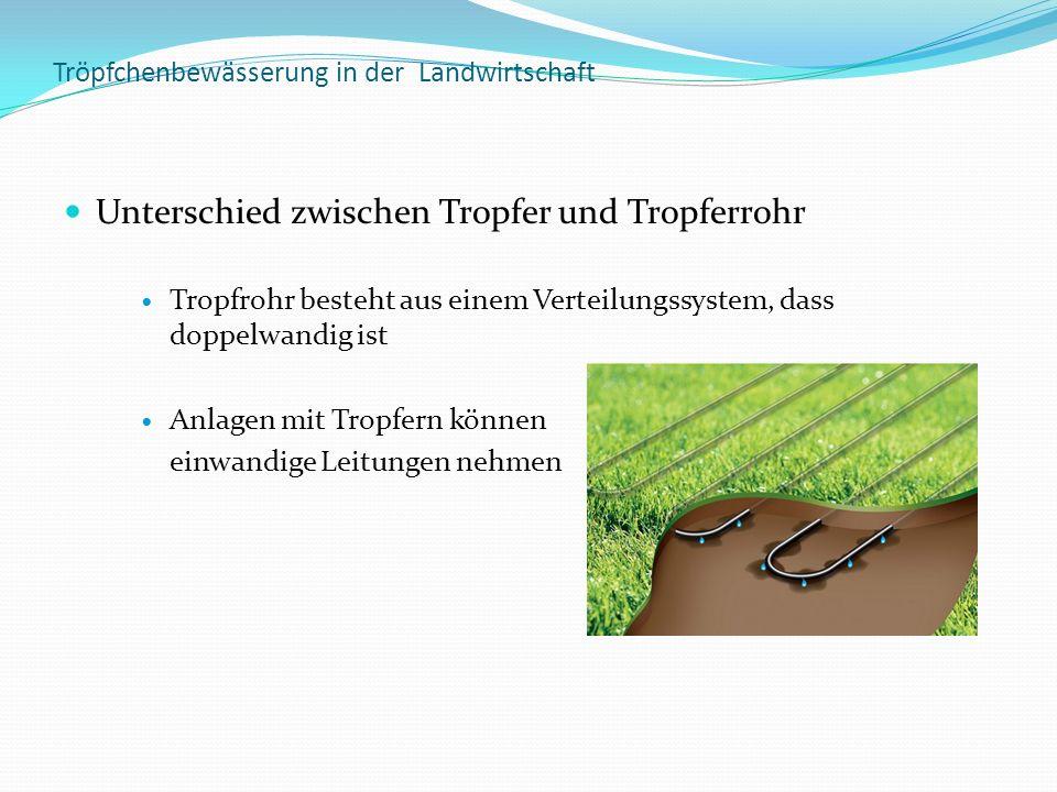 Tröpfchenbewässerung in der Landwirtschaft Unterschied zwischen Tropfer und Tropferrohr Tropfrohr besteht aus einem Verteilungssystem, dass doppelwand