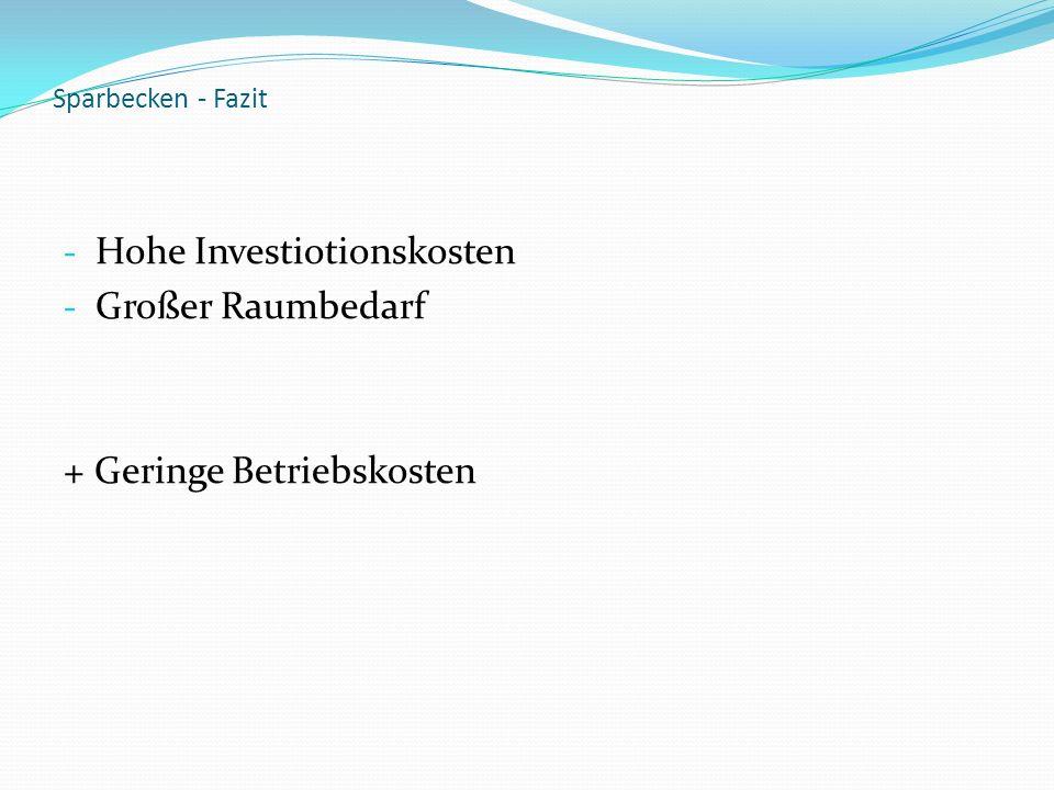 Sparbecken - Fazit - Hohe Investiotionskosten - Großer Raumbedarf + Geringe Betriebskosten