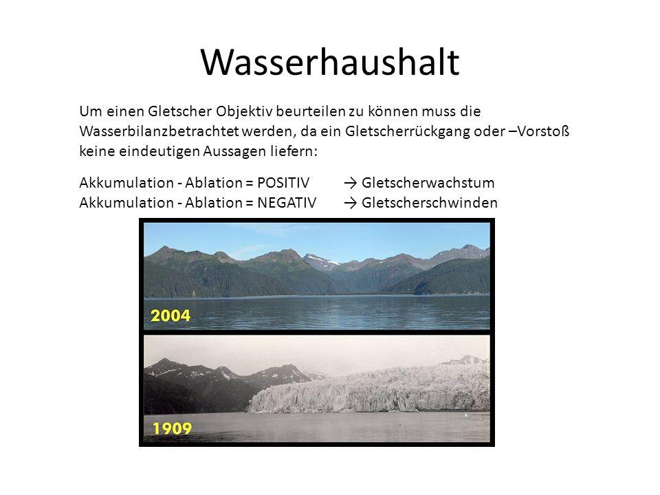 Wasserhaushalt Um einen Gletscher Objektiv beurteilen zu können muss die Wasserbilanzbetrachtet werden, da ein Gletscherrückgang oder –Vorstoß keine eindeutigen Aussagen liefern: Akkumulation - Ablation = POSITIV Gletscherwachstum Akkumulation - Ablation = NEGATIV Gletscherschwinden