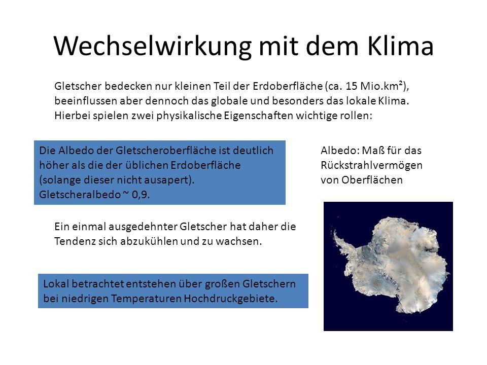 Wechselwirkung mit dem Klima Gletscher bedecken nur kleinen Teil der Erdoberfläche (ca.