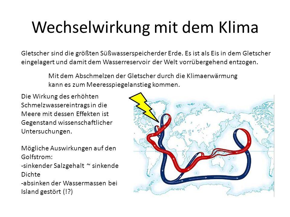 Wechselwirkung mit dem Klima Gletscher sind die größten Süßwasserspeicherder Erde.