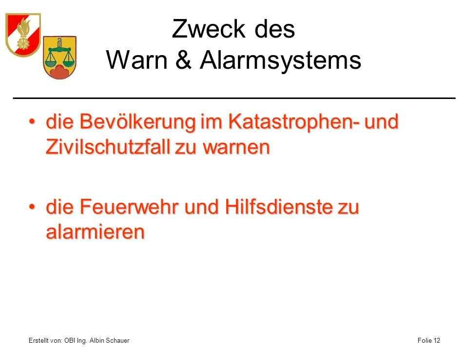 Erstellt von: OBI Ing. Albin SchauerFolie 12 Zweck des Warn & Alarmsystems die Bevölkerung im Katastrophen- und Zivilschutzfall zu warnendie Bevölkeru