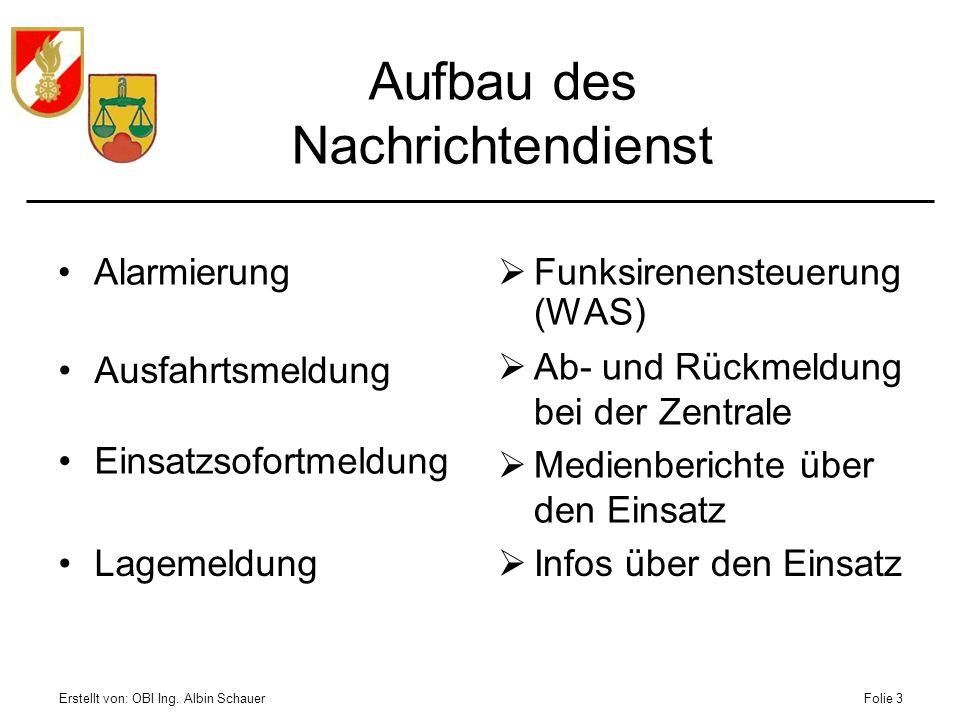 Erstellt von: OBI Ing. Albin SchauerFolie 3 Alarmierung Funksirenensteuerung (WAS) Aufbau des Nachrichtendienst Ausfahrtsmeldung Ab- und Rückmeldung b