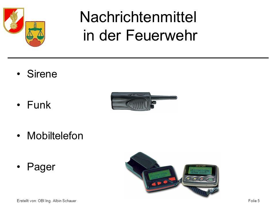 Erstellt von: OBI Ing. Albin SchauerFolie 5 Nachrichtenmittel in der Feuerwehr Sirene Funk Mobiltelefon Pager