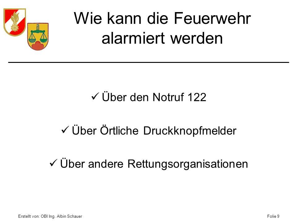 Erstellt von: OBI Ing. Albin SchauerFolie 9 Wie kann die Feuerwehr alarmiert werden Über den Notruf 122 Über Örtliche Druckknopfmelder Über andere Ret