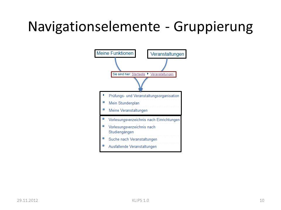 Navigationselemente - Gruppierung 29.11.201210KLIPS 1.0