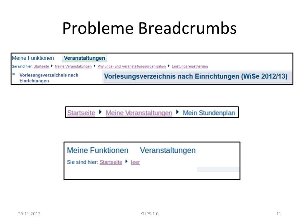 Probleme Breadcrumbs 29.11.201211KLIPS 1.0