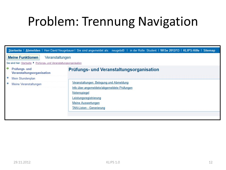 Problem: Trennung Navigation 29.11.201212KLIPS 1.0