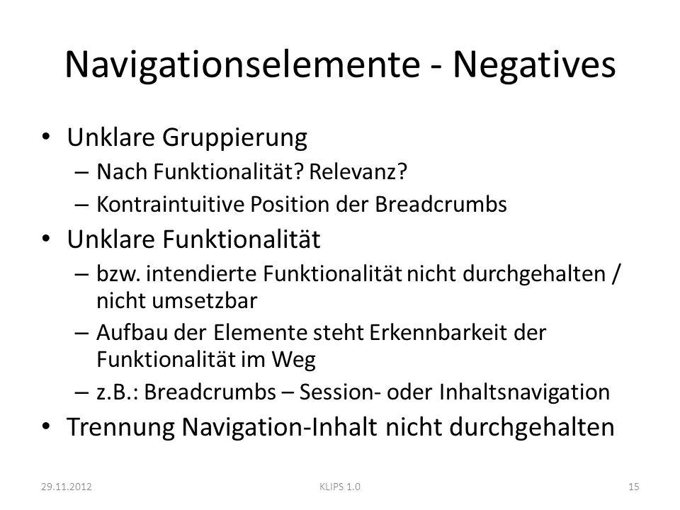 Navigationselemente - Negatives Unklare Gruppierung – Nach Funktionalität? Relevanz? – Kontraintuitive Position der Breadcrumbs Unklare Funktionalität