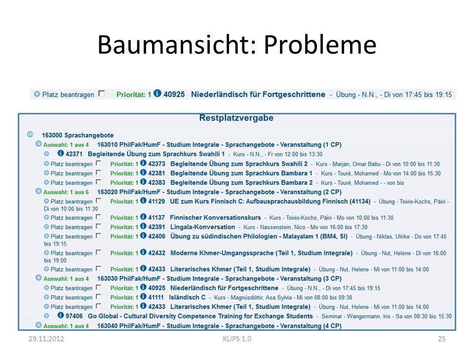 Baumansicht: Probleme 29.11.201225KLIPS 1.0