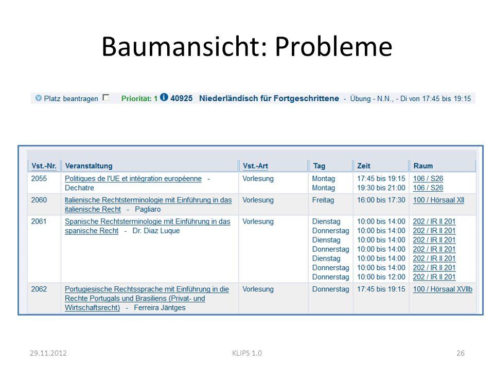 Baumansicht: Probleme 29.11.201226KLIPS 1.0