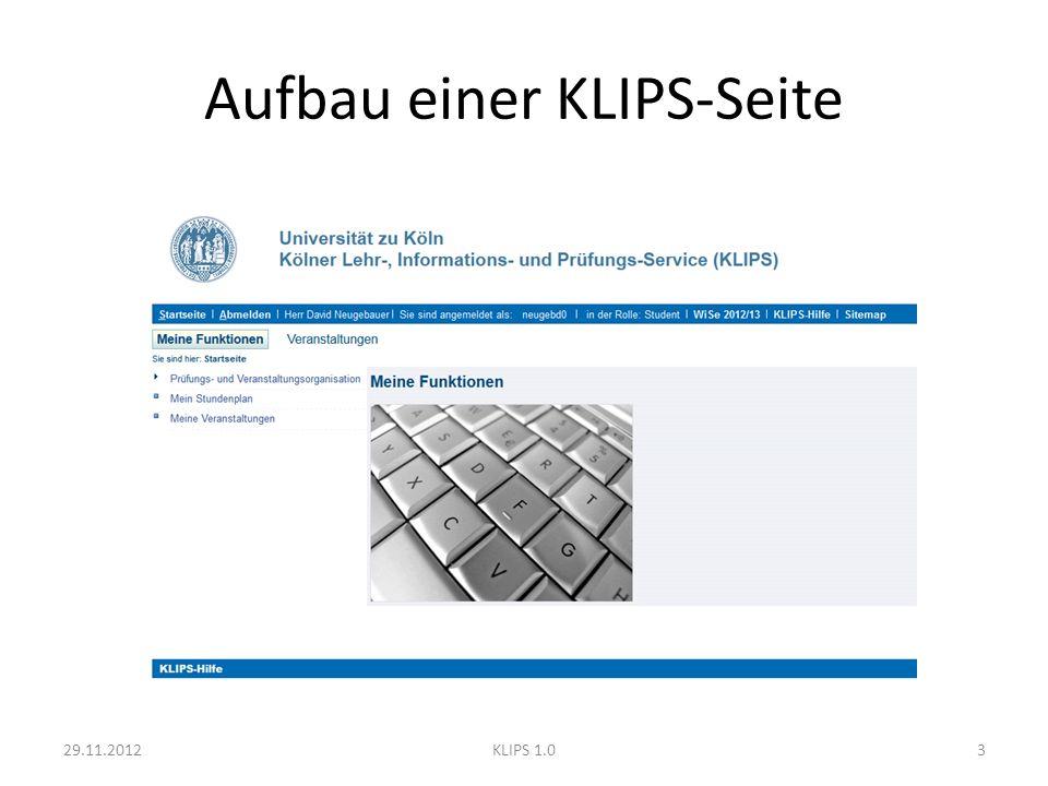 Navigationselemente - Szenario Content 29.11.201214KLIPS 1.0