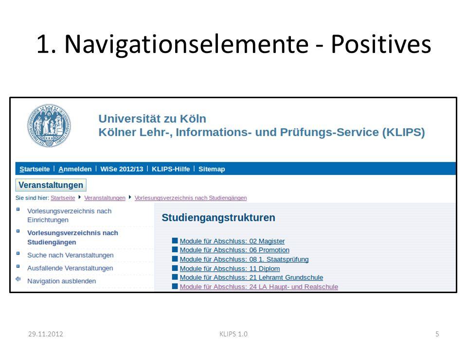 Navigationselemente - Positives Textbasiert – (meist) klare Begriffe – wenig Ablenkung durch graphische Elemente Farbgebung – Begrenzte Variation – konsistent – kontrastreich 29.11.20126KLIPS 1.0
