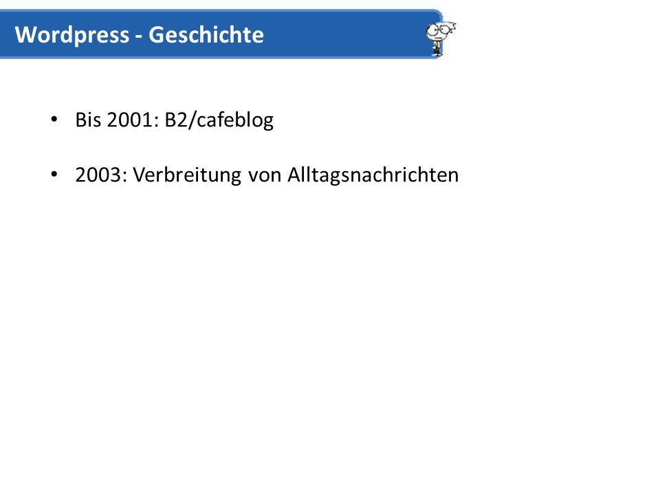 Bis 2001: B2/cafeblog 2003: Verbreitung von Alltagsnachrichten Wordpress - Geschichte