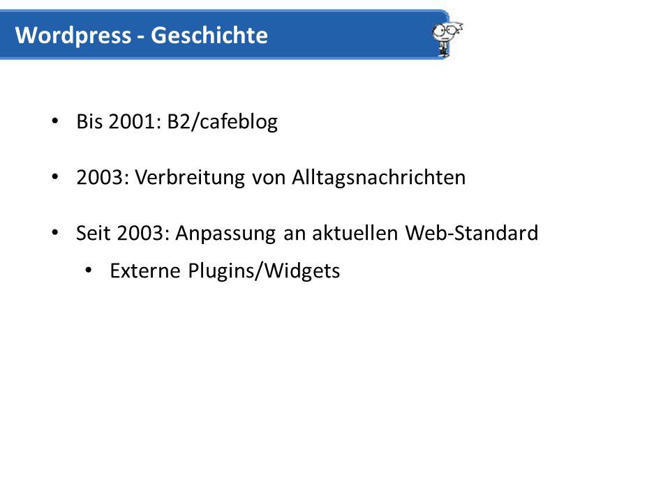 Bis 2001: B2/cafeblog 2003: Verbreitung von Alltagsnachrichten Seit 2003: Anpassung an aktuellen Web-Standard Externe Plugins/Widgets Wordpress - Geschichte