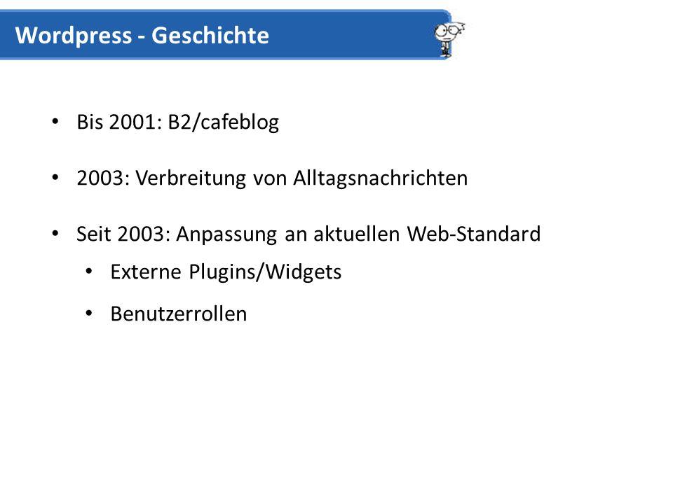 Bis 2001: B2/cafeblog 2003: Verbreitung von Alltagsnachrichten Seit 2003: Anpassung an aktuellen Web-Standard Externe Plugins/Widgets Benutzerrollen Wordpress - Geschichte