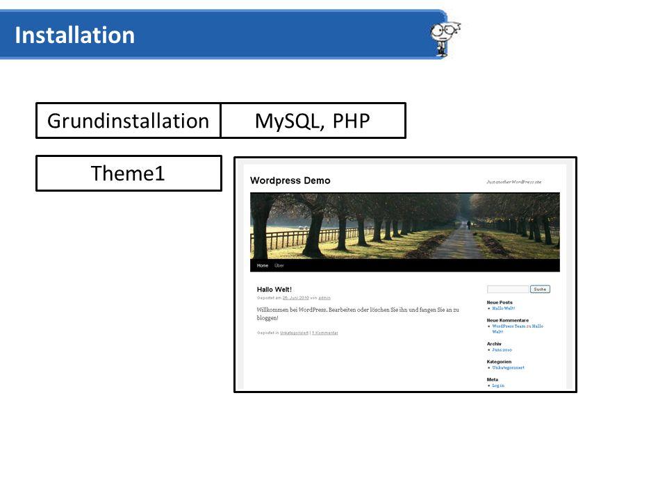 Grundinstallation Installation Theme1 MySQL, PHP