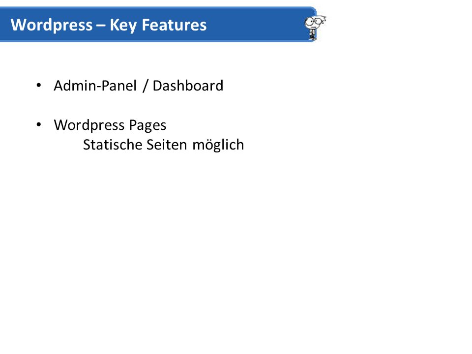 Admin-Panel / Dashboard Wordpress Pages Statische Seiten möglich Wordpress – Key Features