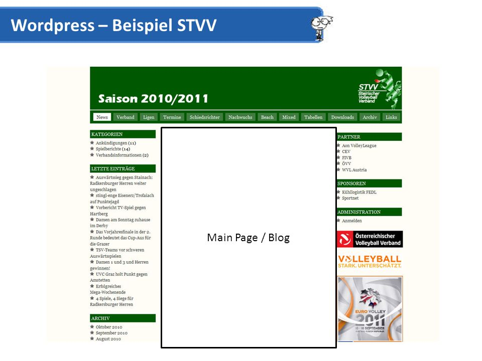 Wordpress – Beispiel STVV Main Page / Blog