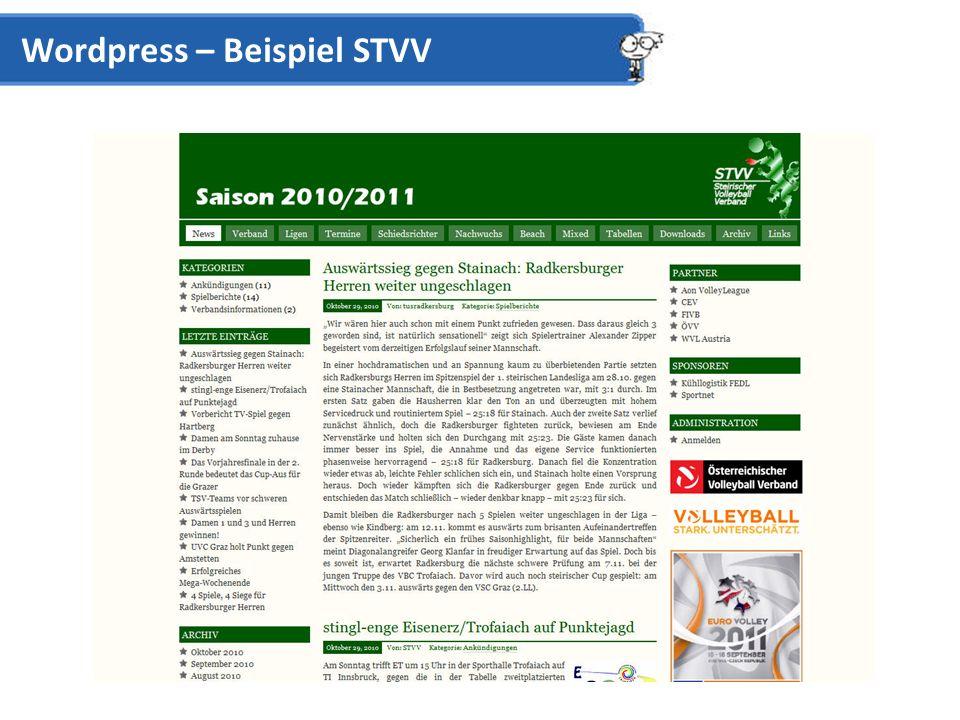 Wordpress – Beispiel STVV