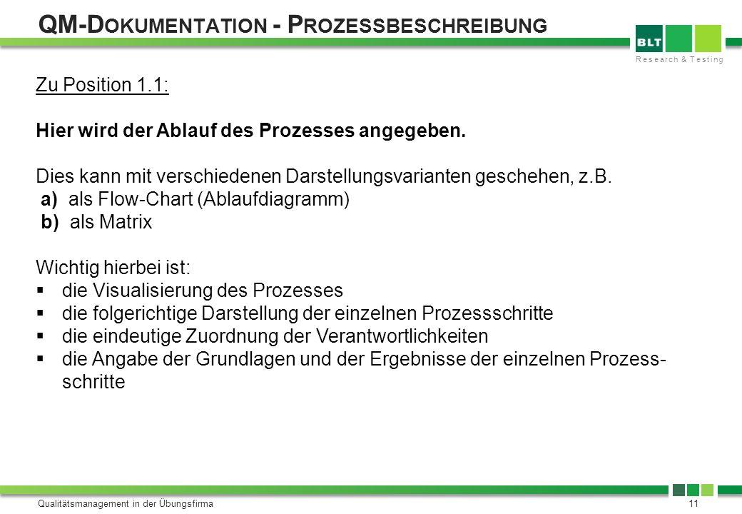 Research & Testing QM-D OKUMENTATION - P ROZESSBESCHREIBUNG Qualitätsmanagement in der Übungsfirma11 Zu Position 1.1: Hier wird der Ablauf des Prozess