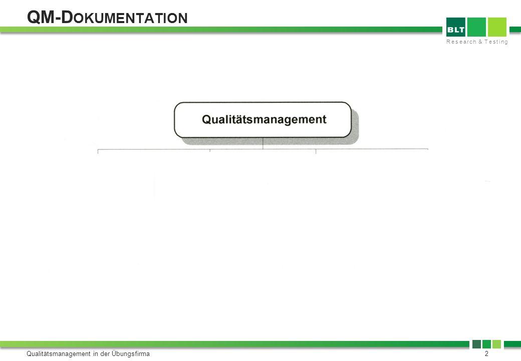 Research & Testing Qualitätsmanagement in der Übungsfirma13 Mag.