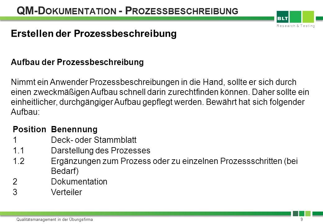 Research & Testing QM-D OKUMENTATION - P ROZESSBESCHREIBUNG Qualitätsmanagement in der Übungsfirma10 Zu Position 1: Hier sollten aufgeführt sein: Bezeichnung des Prozesses (z.B.