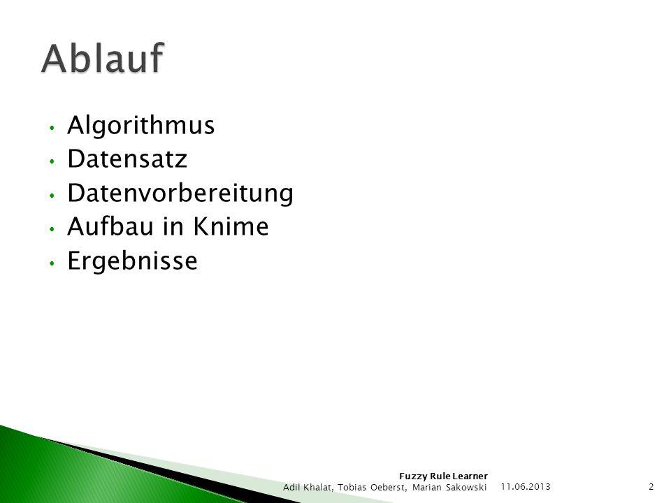 Fuzzy Rule Learner Adil Khalat, Tobias Oeberst, Marian Sakowski Algorithmus Datensatz Datenvorbereitung Aufbau in Knime Ergebnisse 11.06.2013 2