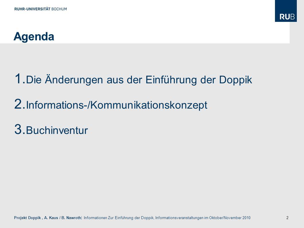2 Projekt Doppik, A. Kaus / B. Nawroth| Informationen Zur Einführung der Doppik, Informationsveranstaltungen im Oktober/November 2010 Agenda 1. Die Än