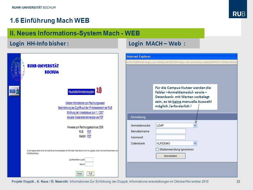 22 Projekt Doppik, A. Kaus / B. Nawroth| Informationen Zur Einführung der Doppik, Informationsveranstaltungen im Oktober/November 2010 Login HH-Info b