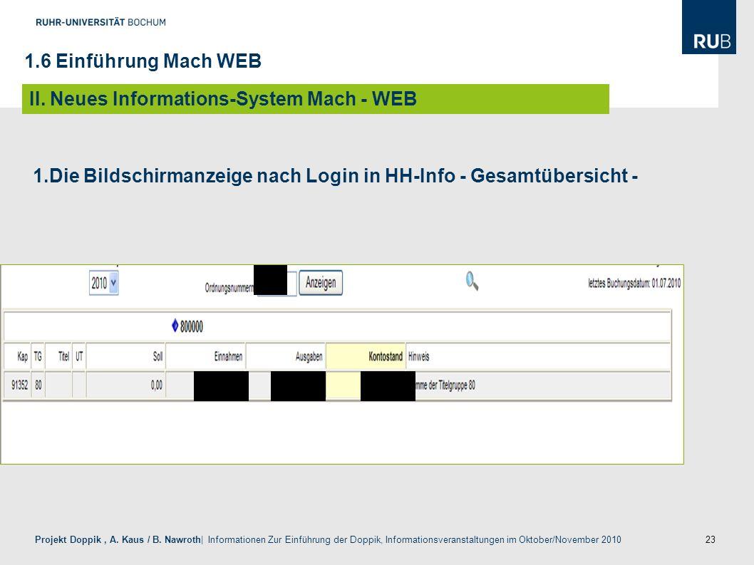 23 Projekt Doppik, A. Kaus / B. Nawroth| Informationen Zur Einführung der Doppik, Informationsveranstaltungen im Oktober/November 2010 1.Die Bildschir