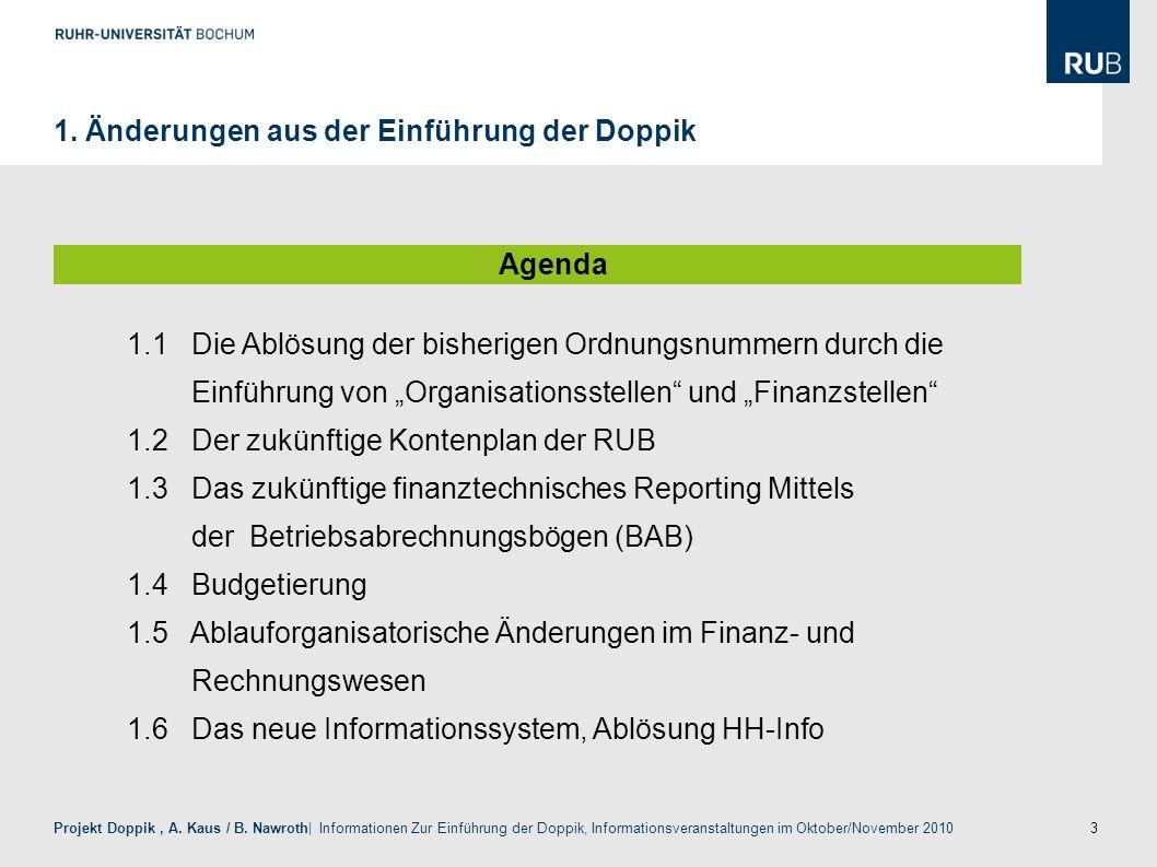 3 Projekt Doppik, A. Kaus / B. Nawroth| Informationen Zur Einführung der Doppik, Informationsveranstaltungen im Oktober/November 2010 1. Änderungen au