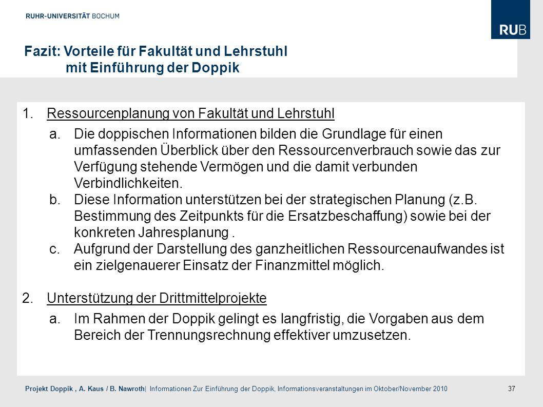 37 Projekt Doppik, A. Kaus / B. Nawroth| Informationen Zur Einführung der Doppik, Informationsveranstaltungen im Oktober/November 2010 Fazit: Vorteile