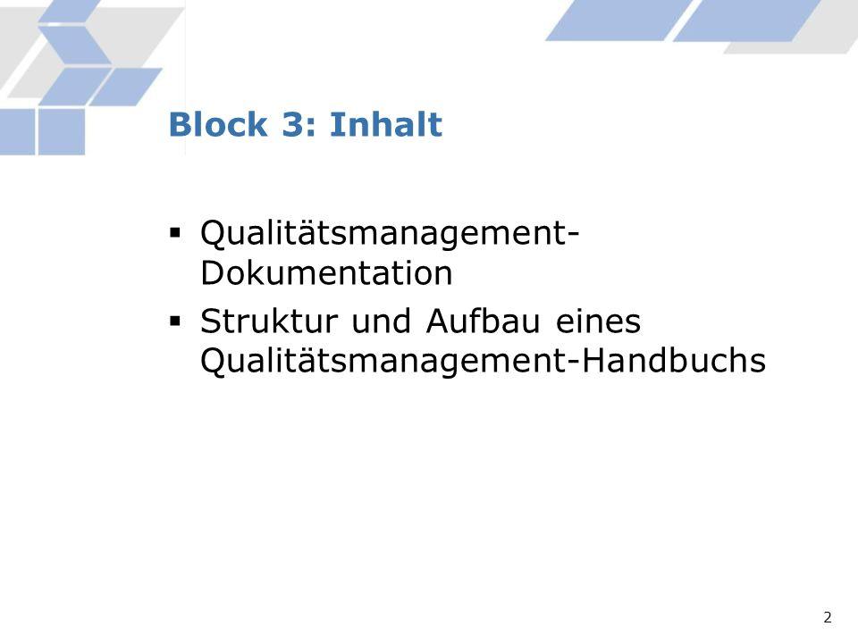 Qualitätsmanagement- Dokumentation Struktur und Aufbau eines Qualitätsmanagement-Handbuchs Block 3: Inhalt 2