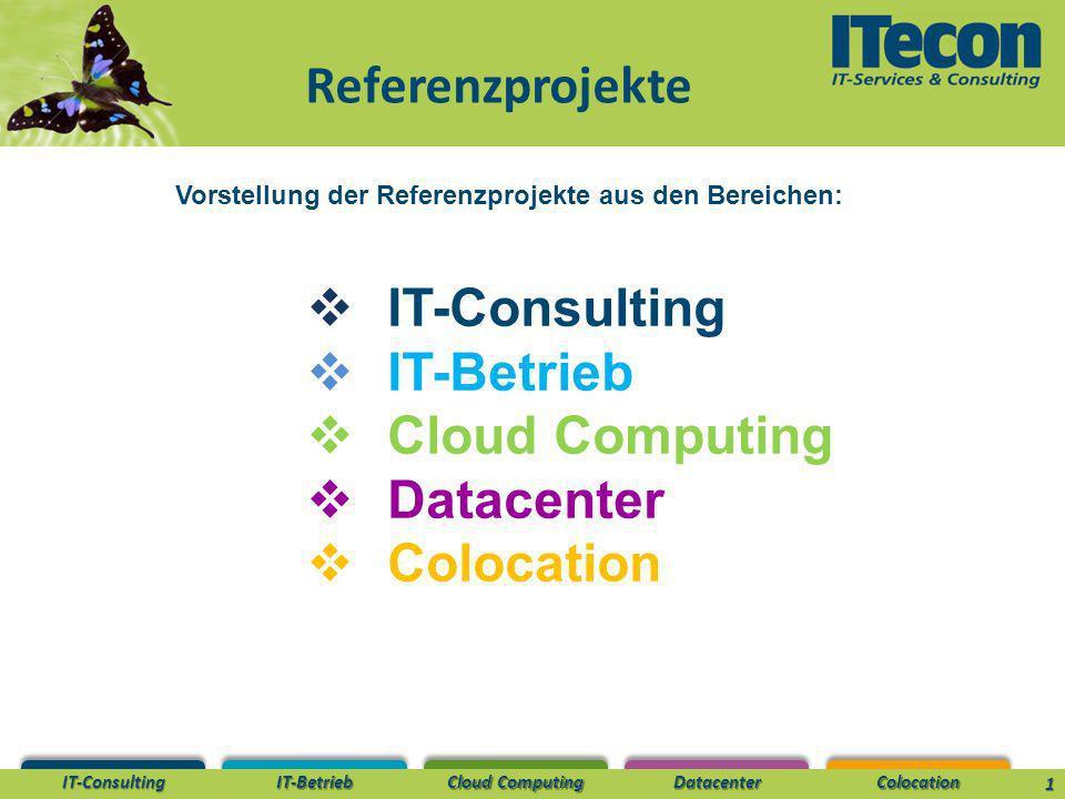 IT-Consulting IT-Betrieb Cloud Computing DatacenterColocation Referenzprojekte 1 Vorstellung der Referenzprojekte aus den Bereichen: IT-Consulting IT-Betrieb Cloud Computing Datacenter Colocation