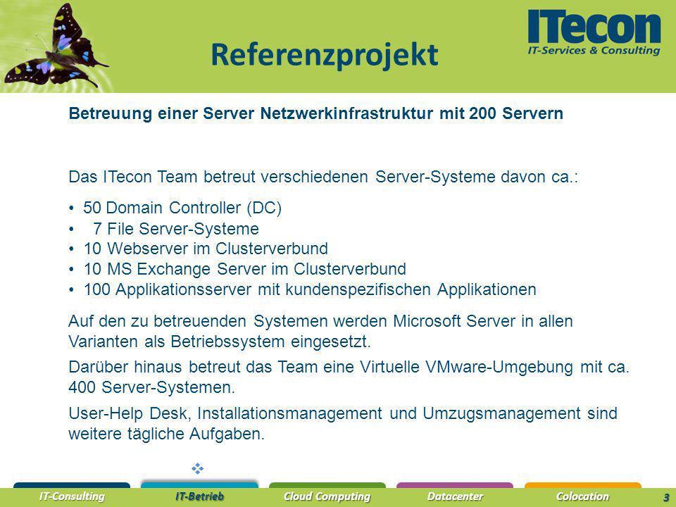 IT-Consulting IT-Betrieb Cloud Computing DatacenterColocation 3 Referenzprojekt Betreuung einer Server Netzwerkinfrastruktur mit 200 Servern Das ITeco