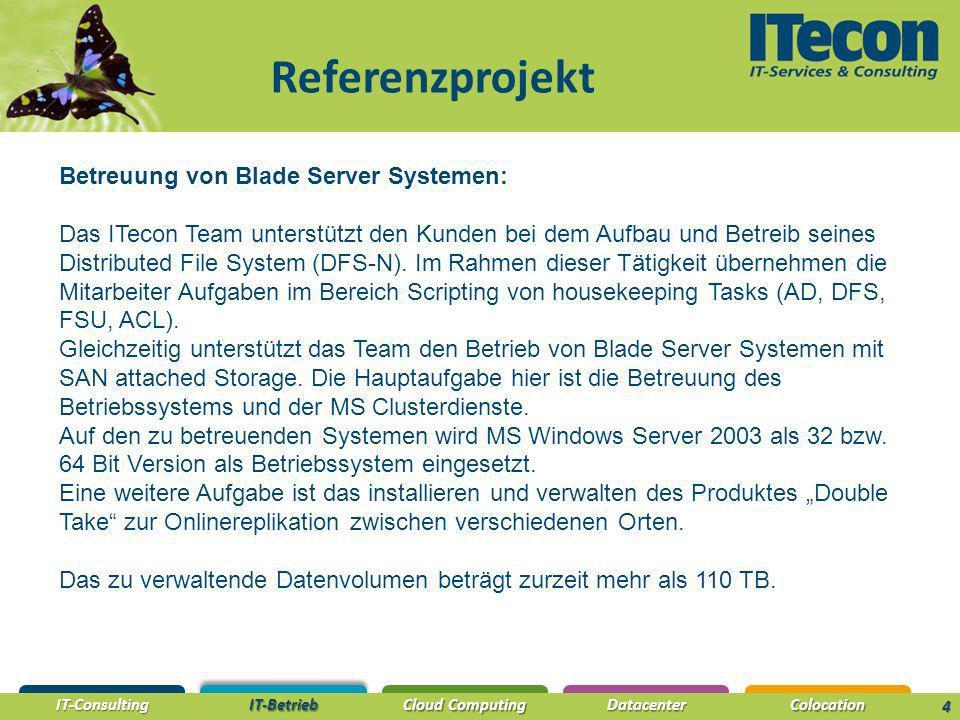 IT-Consulting IT-Betrieb Cloud Computing DatacenterColocation Referenzprojekt 4 Betreuung von Blade Server Systemen: Das ITecon Team unterstützt den Kunden bei dem Aufbau und Betreib seines Distributed File System (DFS-N).