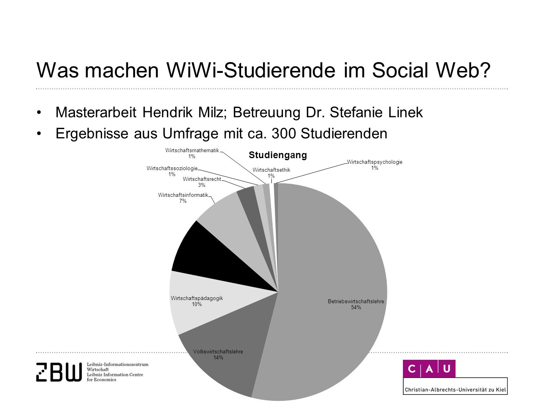 Was machen WiWi-Studierende im Social Web. Masterarbeit Hendrik Milz; Betreuung Dr.