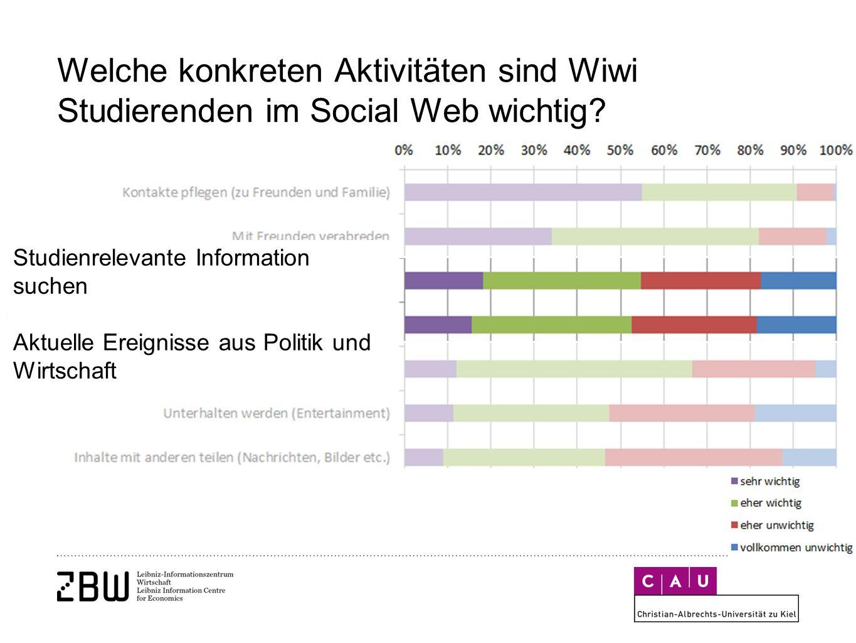 Welche konkreten Aktivitäten sind Wiwi Studierenden im Social Web wichtig.