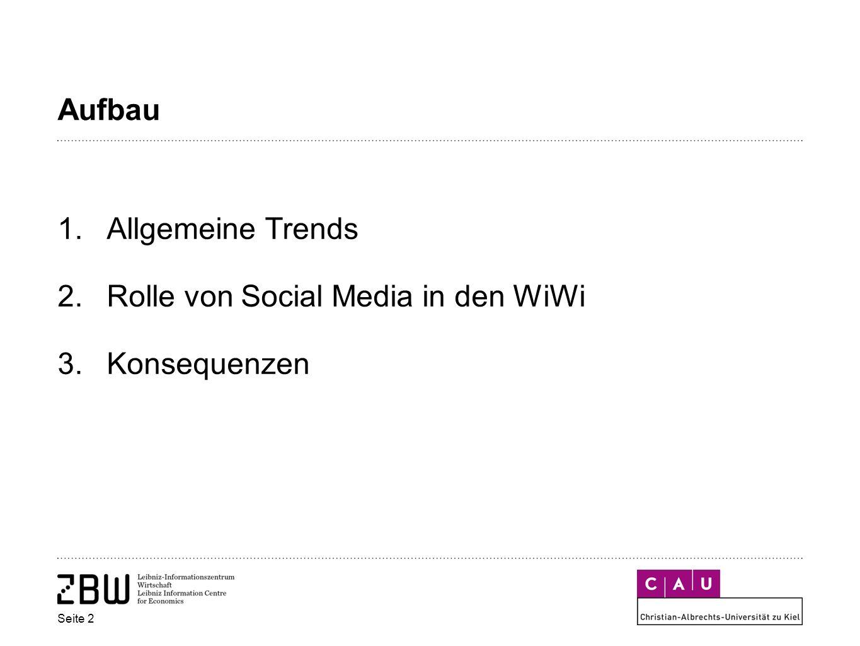 Aufbau 1.Allgemeine Trends 2.Rolle von Social Media in den WiWi 3.Konsequenzen Seite 2