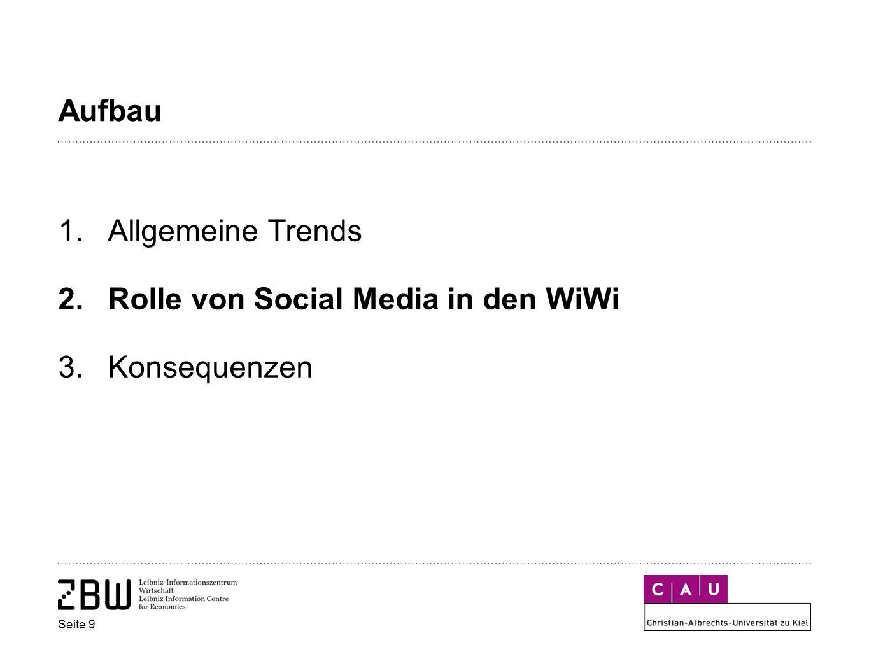Aufbau 1.Allgemeine Trends 2.Rolle von Social Media in den WiWi 3.Konsequenzen Seite 9