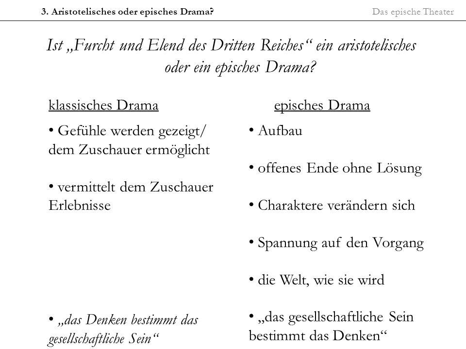 Das epische Theater3. Aristotelisches oder episches Drama? Ist Furcht und Elend des Dritten Reiches ein aristotelisches oder ein episches Drama? klass