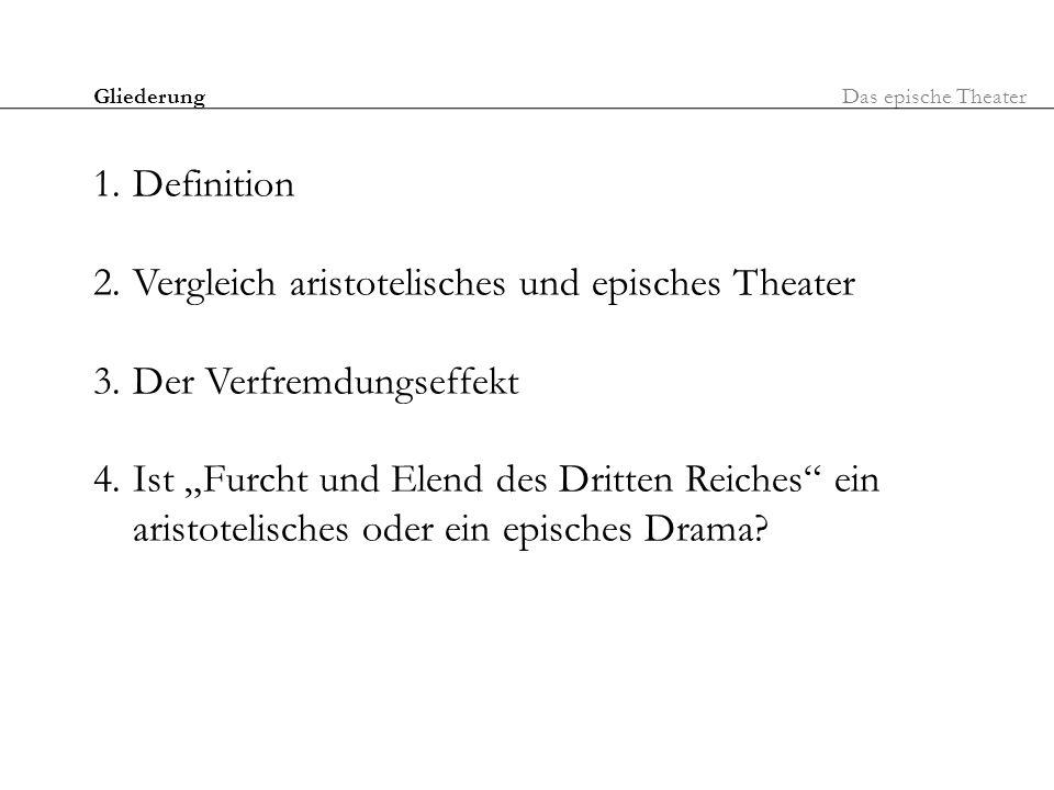 Gliederung 1.Definition 2.Vergleich aristotelisches und episches Theater 3.Der Verfremdungseffekt 4.Ist Furcht und Elend des Dritten Reiches ein arist