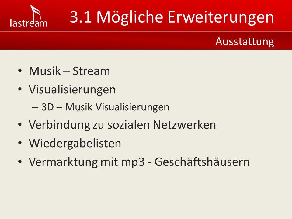 Musik – Stream Visualisierungen – 3D – Musik Visualisierungen Verbindung zu sozialen Netzwerken Wiedergabelisten Vermarktung mit mp3 - Geschäftshäusern Ausstattung 3.1 Mögliche Erweiterungen