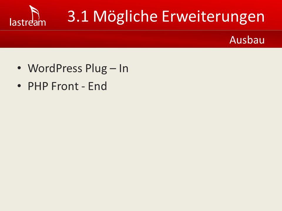 WordPress Plug – In PHP Front - End Ausbau 3.1 Mögliche Erweiterungen